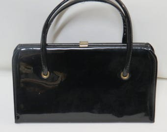 Spilene Vintage Black Patent Handbag Clutch Purse 50s 60s