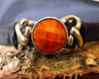 licorice leather magnetic bracelet