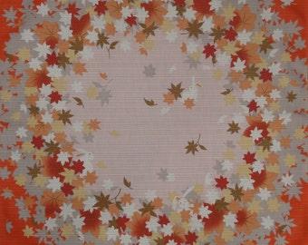 Quilting Fabric Japanese Furoshiki Cloth 'Vermilion Rabbits and Momiji Maple Leaf Circles' Cotton 50cm w/Free Shipping