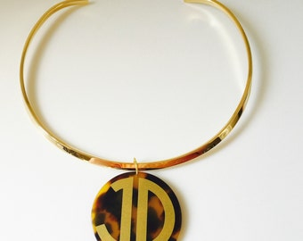 Monogrammed Necklace - Choker with Monogrammed Tortoise Shell Disc