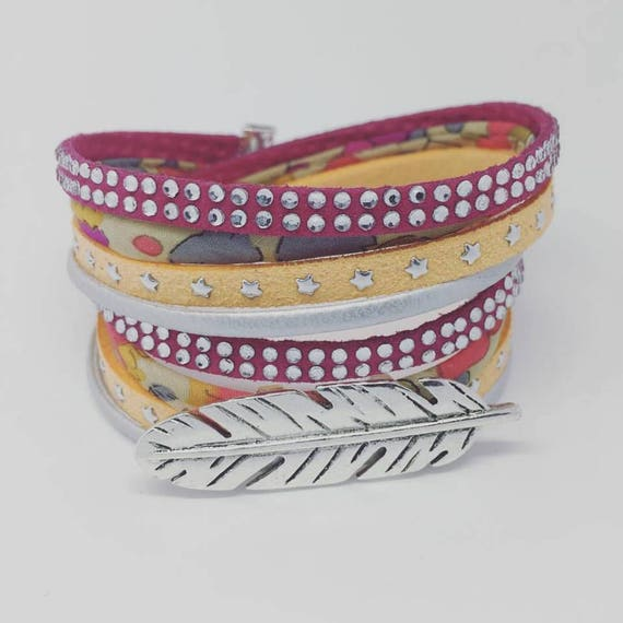 Liberty of London BOHEMIAN CHIC Bracelet multi strand Liberty of London with feather XXL
