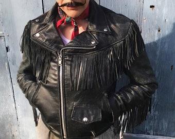 Vintage Fringe Black Leather Jacket Size 36