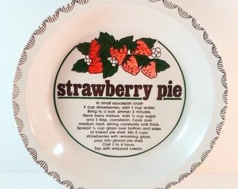 "Vintage 10"" Ceramic Deep Dish Pie Plate with Strawberry Pie Recipe. Retro, Country Farmhouse Kitchen Decor."