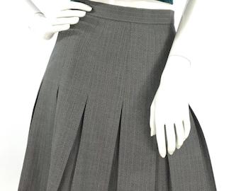 Vintgage wool pleated skirt, Liz Claiborne vintage wool skirt/80s box pleated skirt