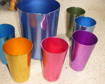 Beautiful mid century rainbow of 6 unbreakable aluminum tumblers and matching pitcher - drinking in bar or kitchen - stylish, modern