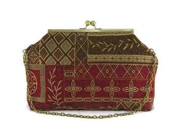 Red, Olive and Gold Elegant Patchwork Clutch Purse with Antique Brass Chain and Kisslock Frame