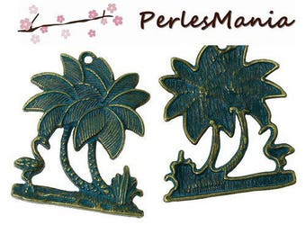 1 pendant island with Palm trees patina old metal color Bronze (S1159981)
