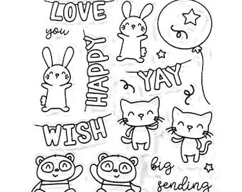 Avery Elle Clear Photopolymer Rubber Stamp Set - Party Pals