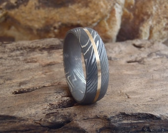 Damascus Steel 7mm Domed Men's Band with 1mm 14K Gold Inlay and Acid Finish