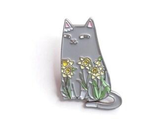 Daffodil Cat Enamel Pin: botanical, cat, camellia, sweet peas, daffodils, pin, flowers, nature, kitten, natelledrawsstuff, gift, flair
