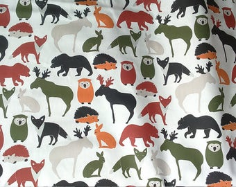 Curtain panel white green orange wild animals Kids decor Modern Decor Cafe curtain Kitchen valance , runner , napkins available, great GIFT
