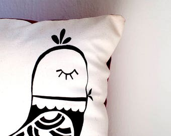 handprinted pillow | cushion cover | pillow cover | illustrated cushion | handmade cushion| screen printed pillow cover with bird |