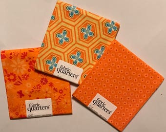 3 Fat Quarters - Fabric Quarters Bright Orange Prints for sewing, quilting