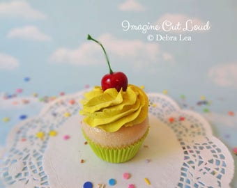 Fake Cupcake Faux Yellow Lime with Cherry