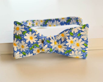Floral Daisy Adult Bow Tie - Blue Floral Self Tie Bowtie - Spring Wedding Bow Tie
