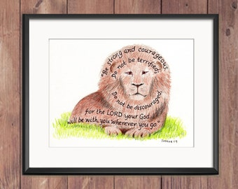Lion, Bible Verse art print, scripture design, hand lettered typography, wall art decor