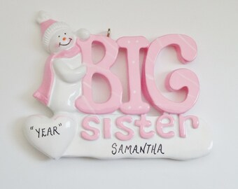 Big Sister Personalized Christmas Ornament - Ornament for Big Sister