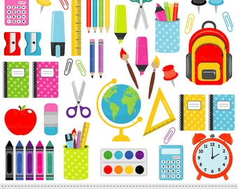 School Supplies Clip Art, Back to School Graphics, Stationery, Education, Teacher Vector Clipart, Digital Download