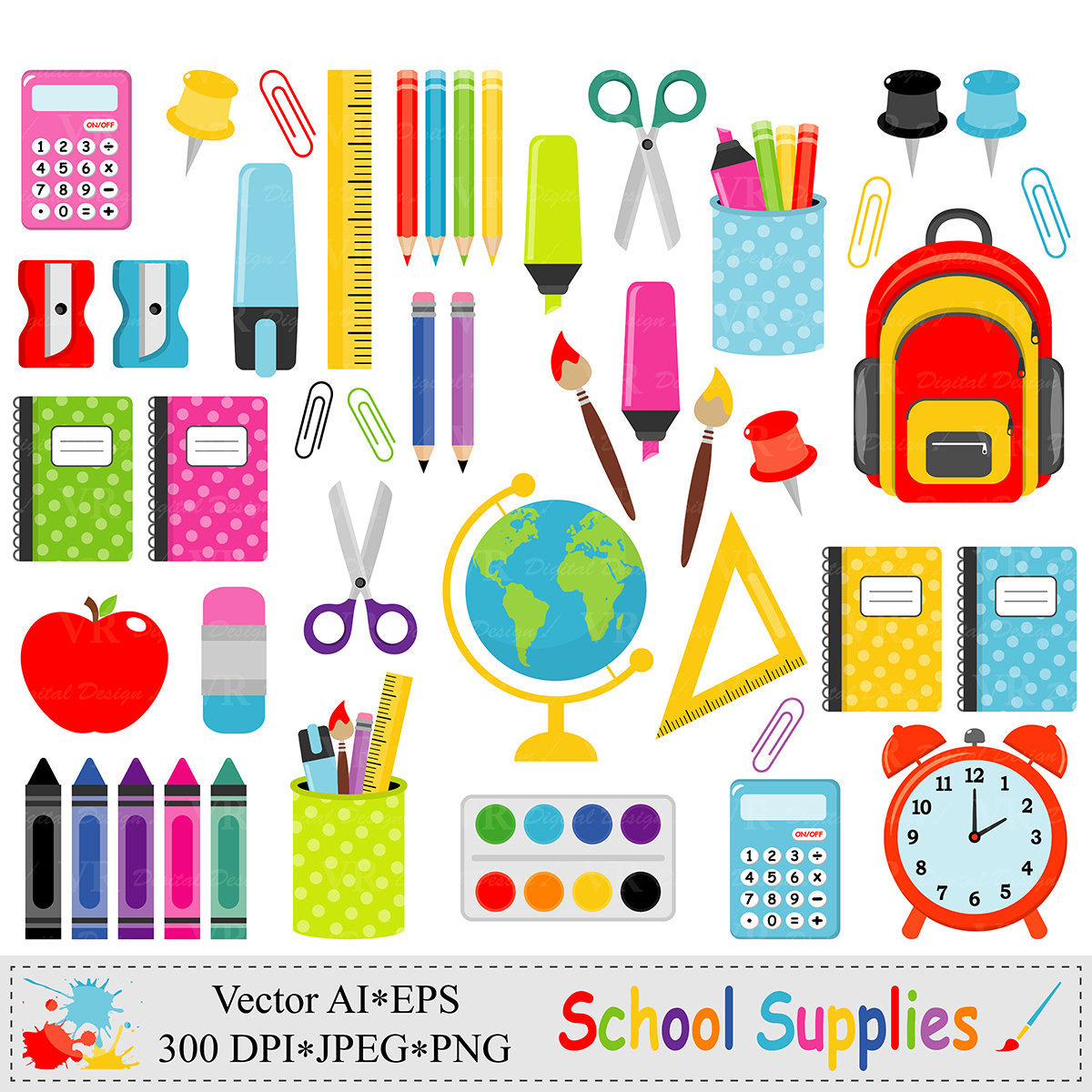 Classroom Decor Canada ~ School supplies clip art back to graphics stationery