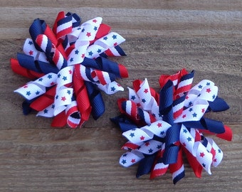 July 4th Korker Hair Bow for Pigtails~4th of July Hair Accessories~Toddler Hair Bows~Pigtail Hairbows~Corker Pigtail Bows~July 4th Hair Bows