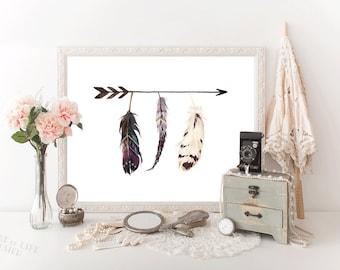 Feather art print, Printable art, Arrow art print, Arrow and feathers wall decor, Tribal wall art, Aztec print, HEART OF LIFE Design decor