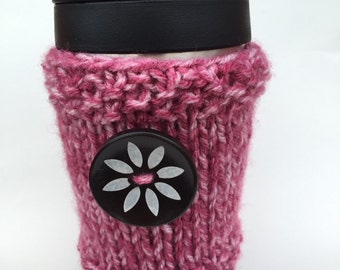 Valentine's Gift - Pink Mist with Flower Button Coffee Cup Cozy - Travel Mug Sleeve - Coffee Mug Holder - Coffee Lovers Gift