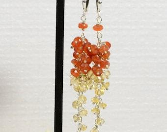 Long Chandelier earrings , Autumn color , Carnelian, Citrine, Sterling silver Jewelry Birthstone Jewelry,