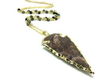 Arrow head necklace, turquoise necklace, turquoise arrow, arrow necklace, crystal necklace, turquoise jewelry, turquoise pendant, arrow head