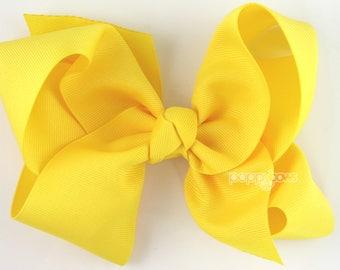 "Extra Large Hair Bow, 6"" Yellow Hair Bow, Girls Hair Bows, 6 inch hair bows, big bow, giant bow, extra large bow, jumbo bows, cute baby xl"