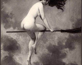 Witch on Broom Illustration - Albert Penot - Bewitching Art ~ Black and White Witch Poster ~ Nude Witch ~ Naked Witch ~ Witch's Sabbath