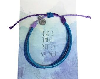 Life is tough but so are you, Friendship Bracelet, Threaded Bracelet with mountain charm, waterproof adjustable bracelet, wax cord bracelet