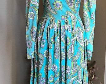 70s Michael Dayan for Tapemeasure Paisley Jersey Maxi Dress/ Small Vintage/
