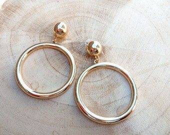 Marilyn Hoops Gold-XL earrings-gold hoops-post earrings-classic hoops-Rockabilly 50s 60s style-Marilyn Monroe