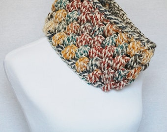 Red, Blue , Green and Yellow Crochet Cowl, Hudson Bay Puff Stitch Infinity, Chunky Crochet Cowl, Bobble Neck Warmer, Infinity Scarf