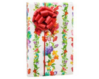 Rainbow Flowers  Gift Wrap Wrapping Paper-18ft Roll w. 20Gift Tags