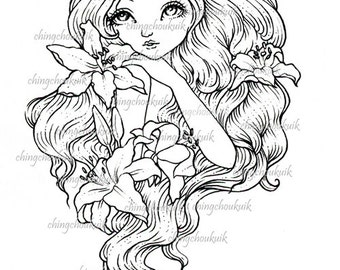 Lily - Digital Stamp Instant Download / Flower Lady Fantasy Art by Ching-Chou Kuik