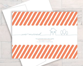 We Moved, Line Art, Home, Blueprint, Moving Card, Moving Announcement, New Home, New Address, New Home Card, New House, Change of Address