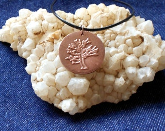 Copper Metal Clay Tree Charm Necklace