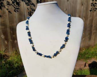 Lapis Lazuli with Baroque Fresh Water Pearls