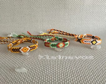 Colorful knotted macrame friendshipbracelets made with cotton