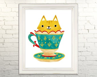TEACUP KITTY Printable Art print Instant Download Digital Illustration Cat Kitten Tea Cup Cute Children Nursery Artwork Kitty Kawaii kitsch