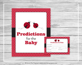 Ladybug Baby Shower Predictions for Baby - Printable Baby Shower Predictions for Baby - Ladybug Baby Shower - Baby Predictions Cards - SP140