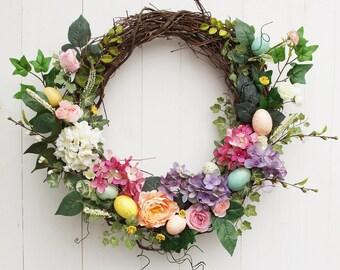 Easter wreath, Easter egg wreath, floral wreath, grapevine wreath, door wreath, spring wreath, Easter arrangement, silk flowers