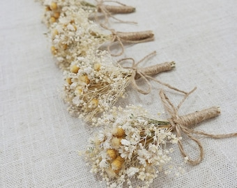 Rustic Wedding Boutonniere,Baby's Breath Boutonniere,Dried Flower Burlap Groom Lapel Pin,Rustic Groom Corsage,Ivory and Tan Boutonniere.