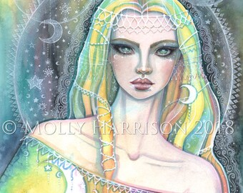 Rainbow - Original Watercolor and Mixed Media Painting by Molly Harrison Fantasy Art - fairy art, fairies, celestial goddess