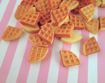 Miniature Waffle Breakfast Cabochons, Flat Backed Cabs, Pick your amount #140b