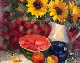 "Summer Gathering, 12""x12"", oil, original, tulip, sunflowers, sunflower, still life, krista eaton"