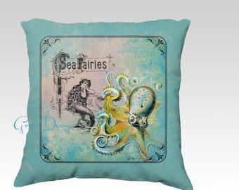 Mermaid Pillow Blue Octopus Fairy Illustration Sea Monster Cotton Velveteen Velvet Cover Throw accent designer