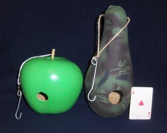 Two (2) Painted Gourd Birdhouses Green Apple Gourd Camouflage Jug Gourd .......2/1#1