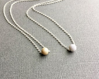 Silver ball necklace etsy silver ball necklace sterling silver dainty delicate minimal sparkle ball everyday gold aloadofball Images